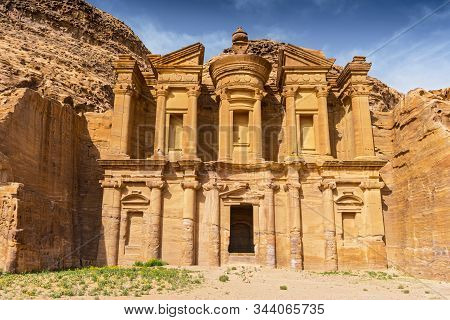 Ancient Tomb Carved In The Rock, Ed Deir (the Monastery) Petra, Jordan, Asia.