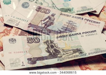 The Texture Of Banknotes In Denominations Of 5000, 1000, 500 And 50 Russian Rubles.