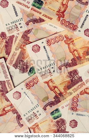 Texture Of Paper Russian Banknotes In The Face Value Of 5000 Rubles.