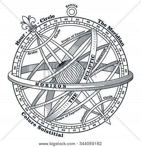 Vintage Navigation Device, Armillary Sphere, Vintage Hand Drawn Illustration