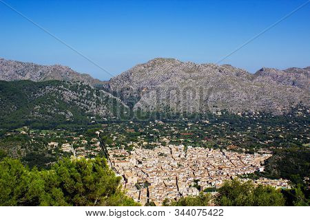 View Of Pollenca City With Mountains In Background, Mallorca, Spain 2018. Beautiful Sky In Backgroun