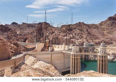Boulder City, Nevada, Usa- 01 June 2015: View Of The Hoover Dam, A Concrete Gravitational Arc Dam, B