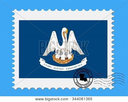 U.s. State Of Louisiana Flag With Postage Stamp Vector Illustration Eps 10.