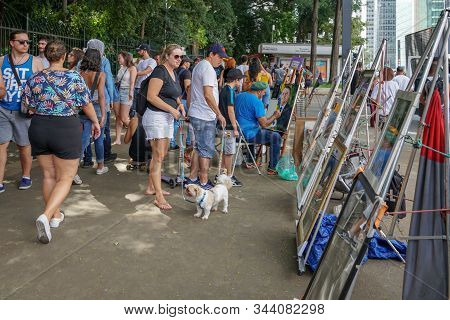 Crowds Walking And Looking At Performances In Paulista Avenue On Sunday Afternoon. Paulista Avenue I