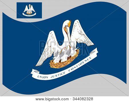 Wave Flag Louisiana Us State Vector Illustration Eps 10