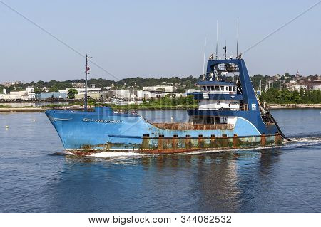 New Bedford, Massachusetts, Usa - July 26, 2019: Outbound Clammer  Sea Watcher I Crossing New Bedfor