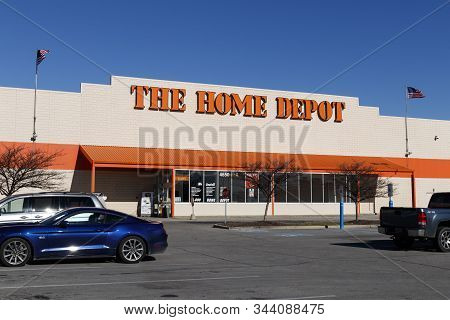 Indianapolis - Circa January 2020: Home Depot Location Flying The American Flag. Home Depot Is The L