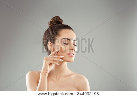 Beautiful Woman With Nature Makeup. Beauty Portrait Of Female Face With Natural Skin. Skin Care. Cos