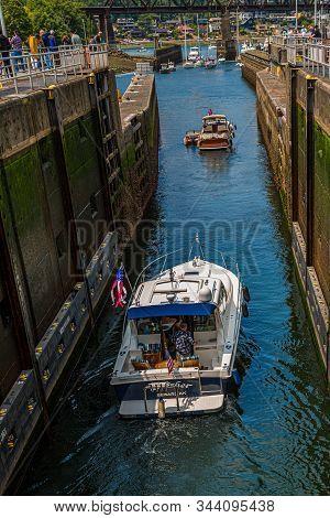 Seattle, Washington - Jul 42, 2019: The Ballard Locks, Is A Complex Of Locks At The West End Of Salm