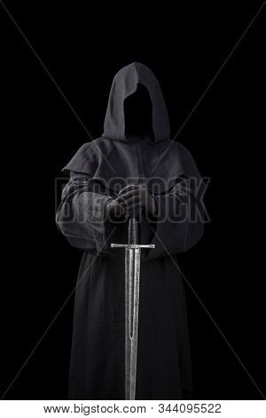 Ghostly figure with medieval sword isolated on black background