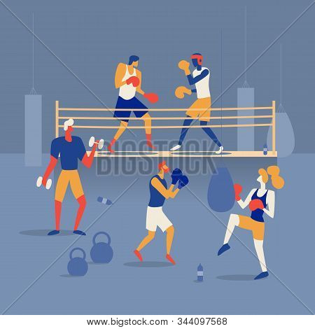 People Are Boxing On The Ring, Training In The Gym With A Boxing Bag And Barbells. Flat Vector Illus