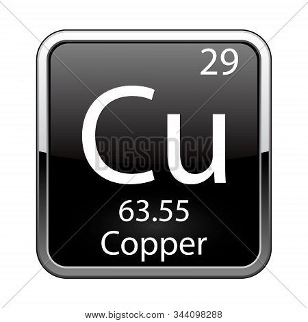 Copper symbol.Chemical element of the periodic table on a glossy black background in a silver frame.Vector illustration. poster