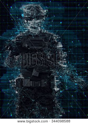 american  marine corps special operations soldier with fire arm weapon and protective army tactical gear with glitch computer error effect
