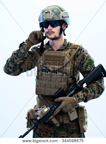 american  marine corps special operations soldier preparing tactical and communication gear for action battle glitch design effect