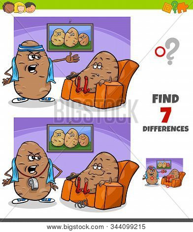 Cartoon Illustration Of Finding Differences Between Pictures Educational Game For Children With Couc