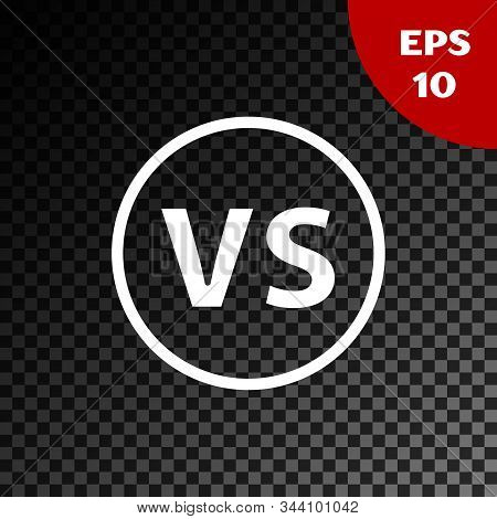 White Vs Versus Battle Icon Isolated On Transparent Dark Background. Competition Vs Match Game, Mart