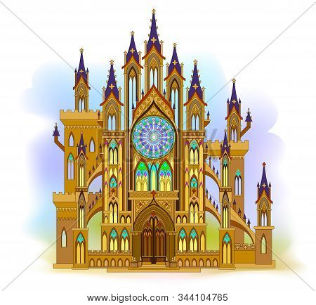 Fantastic Gothic Castle From Fairyland. Illustration Of Medieval Cathedral With Beautiful Stained Gl