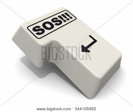 The Enter Key Labeled Sos Word. The Computer Enter Key Labeled Sos! On White Background. 3d Illustra
