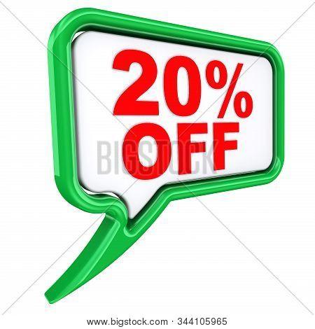Discount Of Twenty Percentage. One Green Speech Bubble Labeled 20%off (twenty Percentage Discount) I