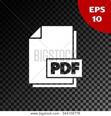 White Pdf File Document. Download Pdf Button Icon Isolated On Transparent Dark Background. Pdf File