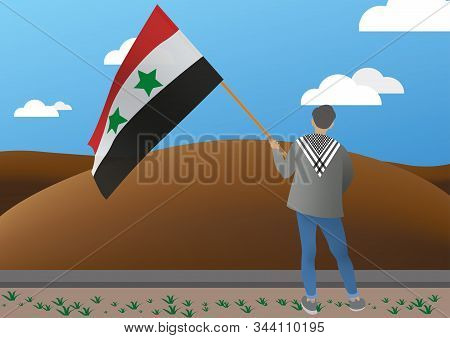 Illustration Of A Young Man With A Syrian Flag