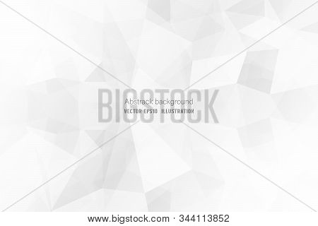 Abstract Geometric White And Gray Polygon Or Lowpoly Vector Technology Concept Background.