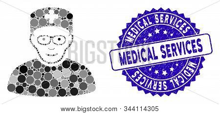 Mosaic Medical Specialist Icon And Grunge Stamp Seal With Medical Services Phrase. Mosaic Vector Is