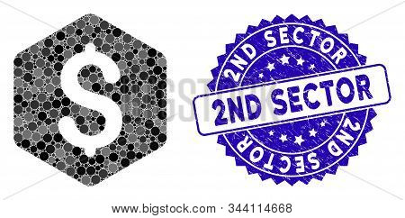 Mosaic Dollar Hexagon Icon And Corroded Stamp Seal With 2nd Sector Caption. Mosaic Vector Is Formed