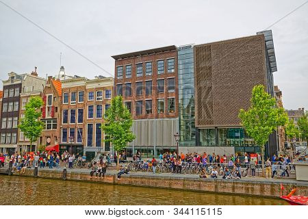 Amsterdam, Netherlands - June 12, 2016: Anne Frank House And Holocaust Museum On A Spring Day In Pri