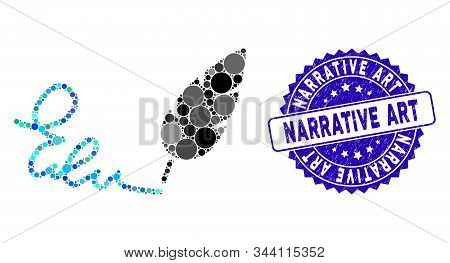 Mosaic Signature Icon And Grunge Stamp Seal With Narrative Art Phrase. Mosaic Vector Is Formed From