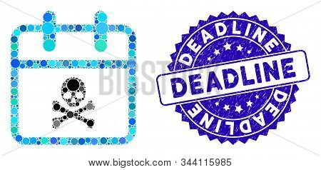 Collage Skull Deadline Day Icon And Grunge Stamp Seal With Deadline Phrase. Mosaic Vector Is Compose
