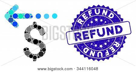 Mosaic Refund Icon And Rubber Stamp Seal With Refund Caption. Mosaic Vector Is Created With Refund I