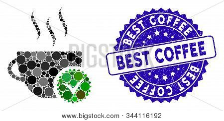 Mosaic Best Coffee Icon And Distressed Stamp Seal With Best Coffee Phrase. Mosaic Vector Is Created
