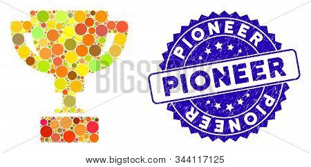 Mosaic Gold Cup Icon And Rubber Stamp Seal With Pioneer Phrase. Mosaic Vector Is Composed With Gold