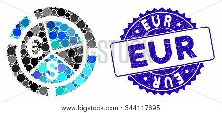 Mosaic Currency Diagram Icon And Distressed Stamp Seal With Eur Caption. Mosaic Vector Is Composed W