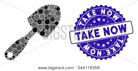 Mosaic Scoop Shovel Icon And Grunge Stamp Watermark With Take Now Caption. Mosaic Vector Is Designed