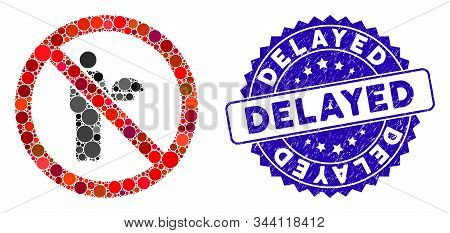Mosaic No Waiter Icon And Distressed Stamp Seal With Delayed Text. Mosaic Vector Is Formed With No W
