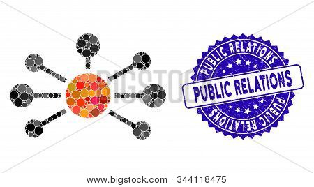 Mosaic Relations Icon And Grunge Stamp Seal With Public Relations Text. Mosaic Vector Is Designed Wi