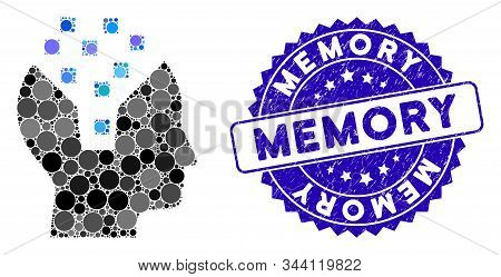 Mosaic Human Memory Icon And Rubber Stamp Seal With Memory Text. Mosaic Vector Is Formed From Human