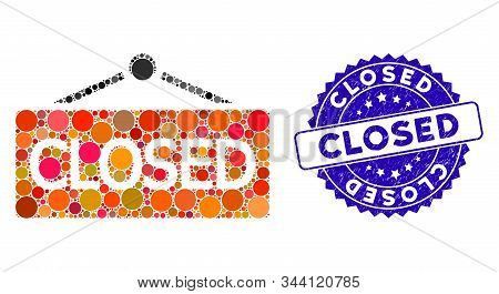 Mosaic Closed Announce Icon And Corroded Stamp Watermark With Closed Caption. Mosaic Vector Is Desig