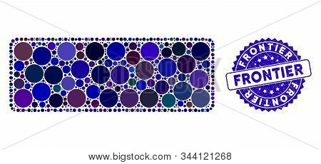 Mosaic Framed Filled Rounded Rectangle Icon And Grunge Stamp Watermark With Frontier Caption. Mosaic