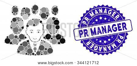 Mosaic Crowd Icon And Grunge Stamp Watermark With Pr Manager Caption. Mosaic Vector Is Composed From
