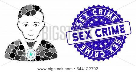 Mosaic Champion Icon And Distressed Stamp Seal With Sex Crime Text. Mosaic Vector Is Created With Ch