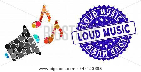 Mosaic Music Horn Icon And Grunge Stamp Seal With Loud Music Caption. Mosaic Vector Is Designed With