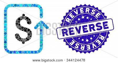 Mosaic Reverse Transaction Icon And Rubber Stamp Watermark With Reverse Phrase. Mosaic Vector Is Des