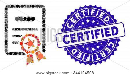 Mosaic Certified Diploma Icon And Rubber Stamp Seal With Certified Text. Mosaic Vector Is Designed W