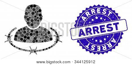 Collage Captured Man Icon And Distressed Stamp Seal With Arrest Phrase. Mosaic Vector Is Designed Fr