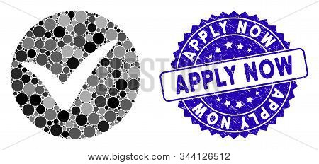 Mosaic Apply Icon And Grunge Stamp Seal With Apply Now Phrase. Mosaic Vector Is Designed From Apply