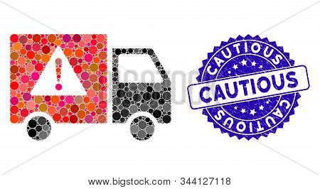 Mosaic Danger Transport Truck Icon And Grunge Stamp Seal With Cautious Caption. Mosaic Vector Is For