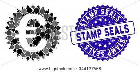 Mosaic Euro Warranty Stamp Icon And Rubber Stamp Watermark With Stamp Seals Text. Mosaic Vector Is F